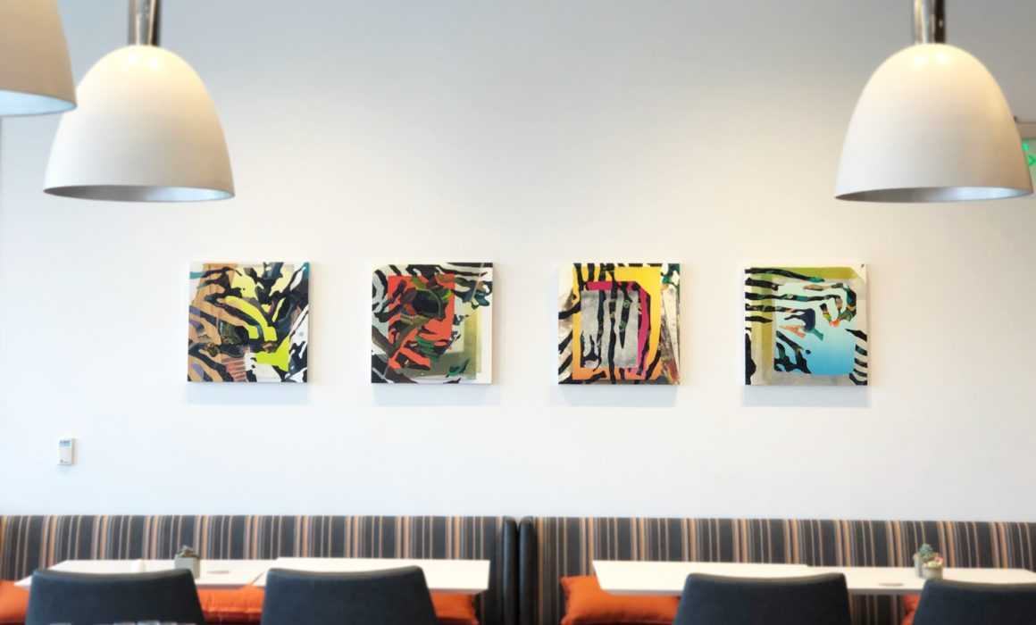 Jimmy Baker, American artist, painting, digital printing : Install shot from Summit A Dolce Hotel Med Pace