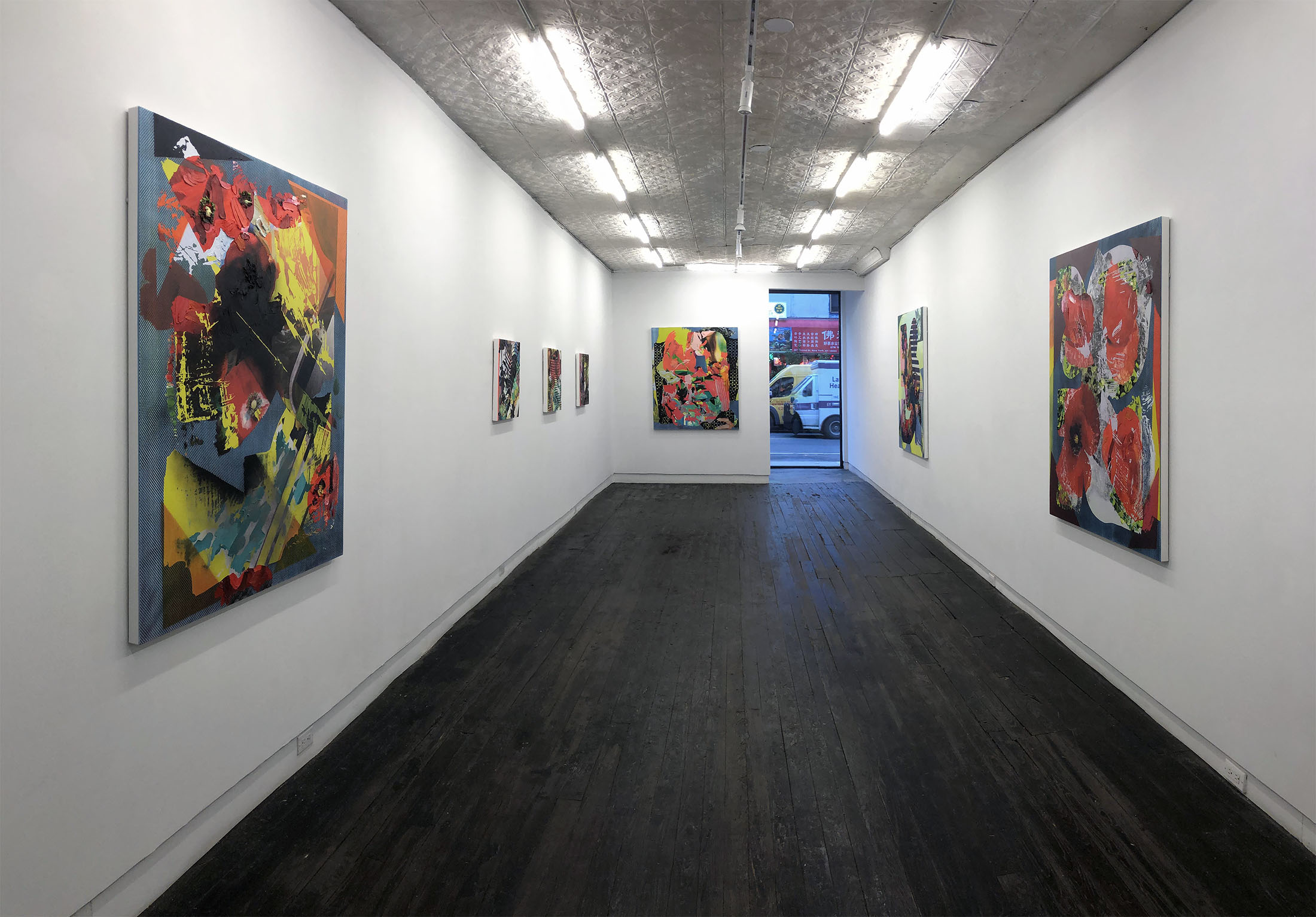 Jimmy Baker, American artist, painting, digital printing : Install shot from Burning Out at LMAK Gallery New York