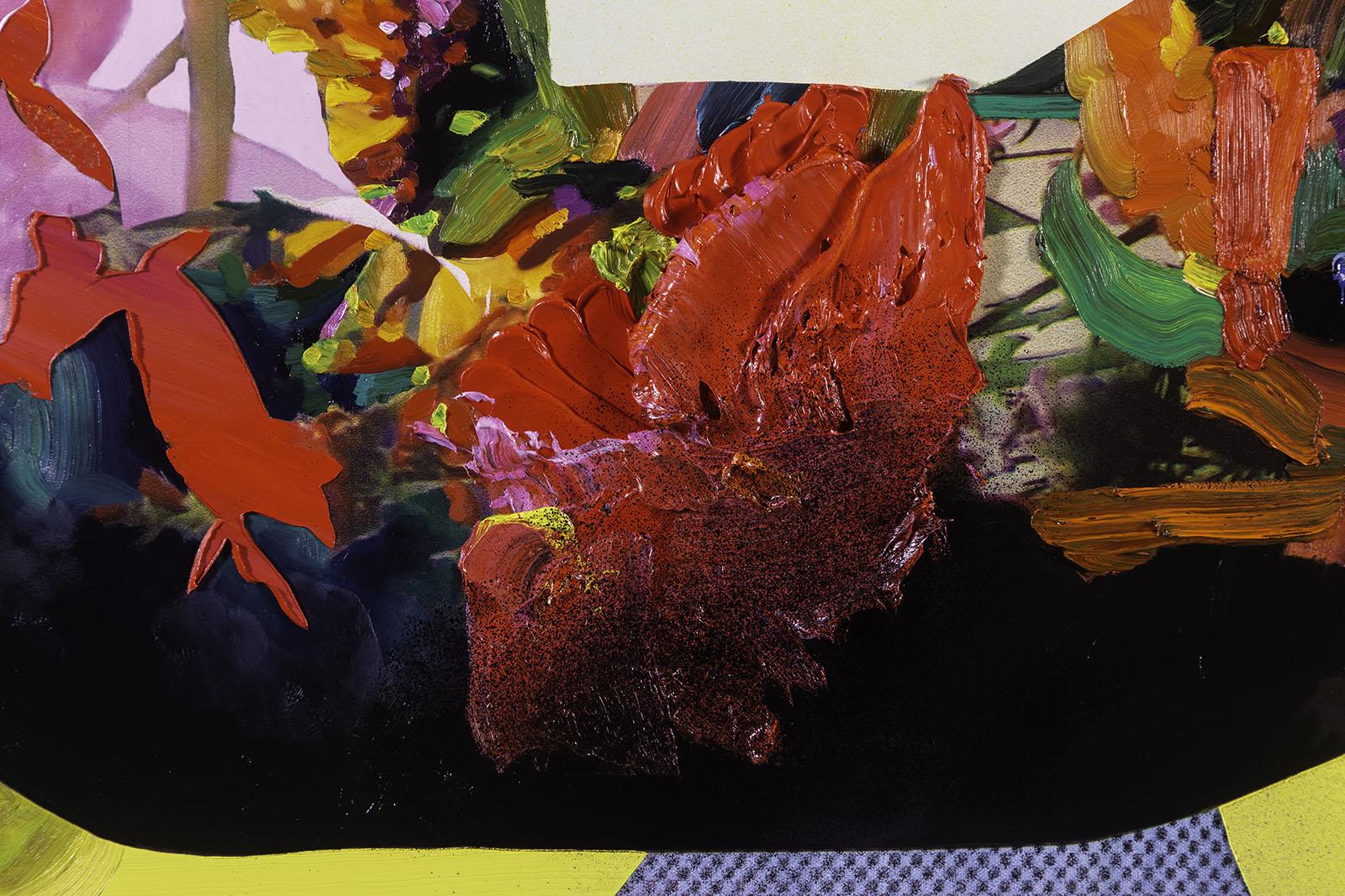 Jimmy Baker, American artist, painting, digital printing : Double Walker painting detail